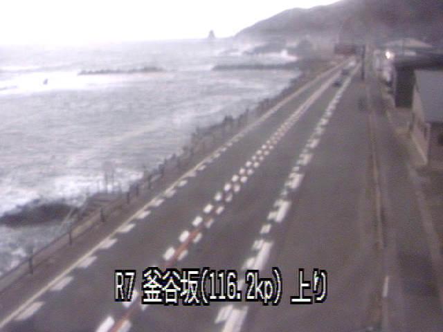 国道7号線釜谷坂のライブカメラ|山形県鶴岡市