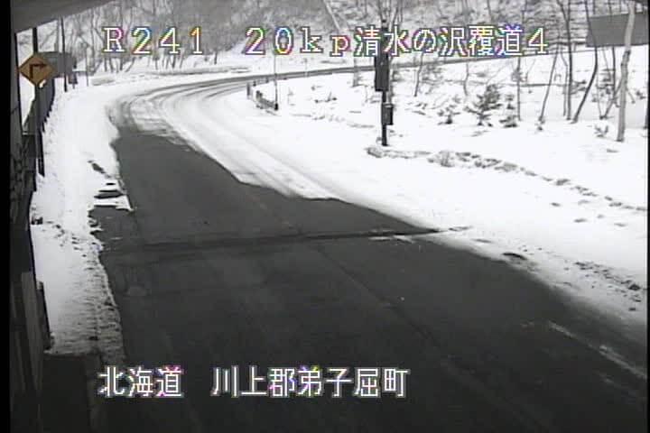 国道241号 清水の沢覆道No.4のライブカメラ 北海道弟子屈町